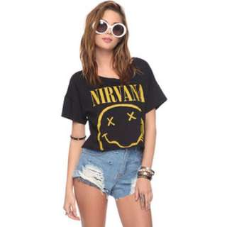 Forever 21 - Cropped Nirvana Band Tee