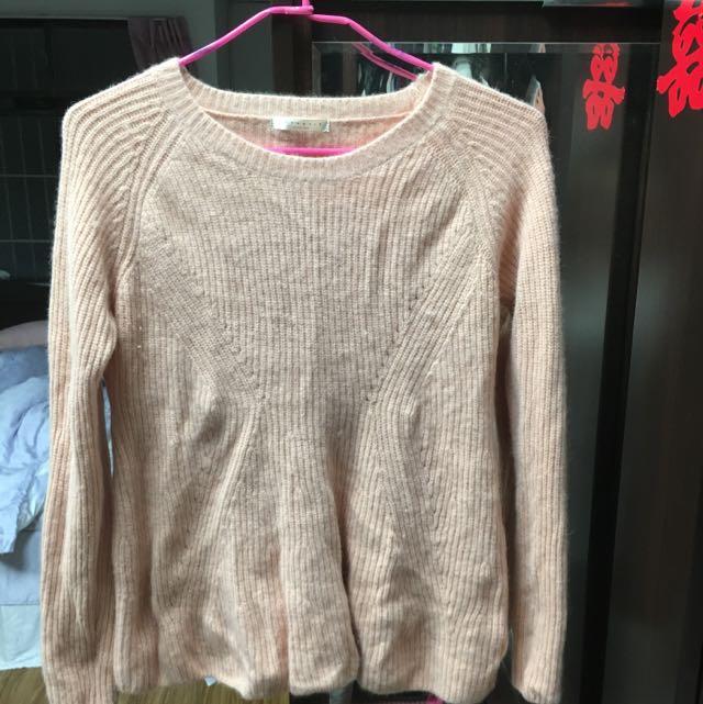 全新粉色韓版設計純兔毛保暖甜美上衣