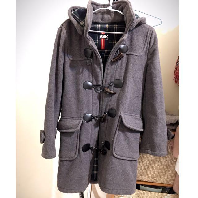 Ask超厚超保暖牛角長版大衣外套