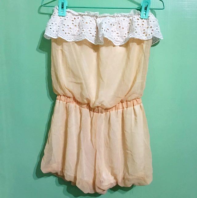 平口燒花蕾絲粉膚連身褲 #百元洋裝
