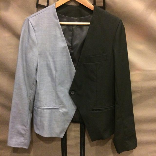 灰黑拼接西裝外套