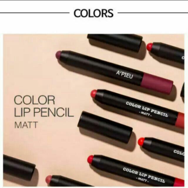 雙11限時優惠 APIEU MATT Color Lip Pancil 霧面滋潤持久蠟筆唇膏 蠟筆唇膏 口紅