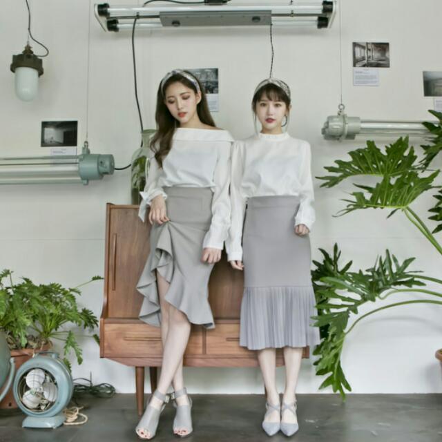 灰色荷葉/魚尾裙(右) Lulus
