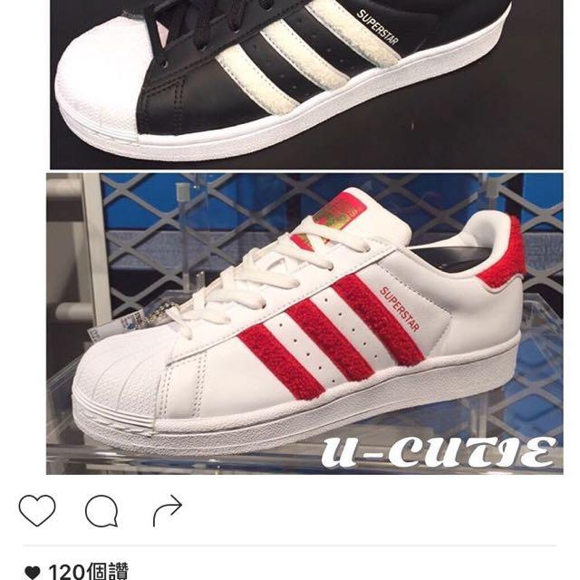 超可愛adidas毛毛紅白條紋鞋24.5