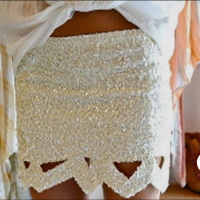 Aje Cream Catara Mini Skirt
