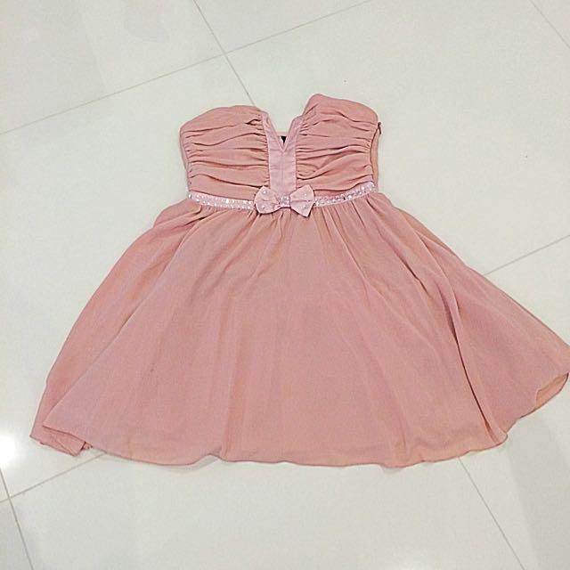 Beige Pink Strapless Dress