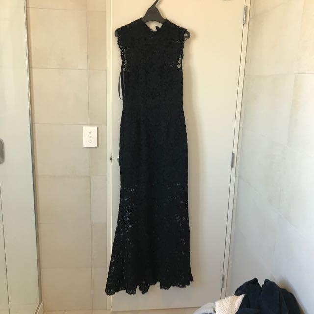 Black Forever new Full Length Lace Overlay Dress
