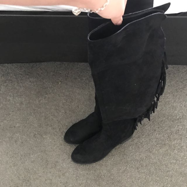 Black Fringe Boots