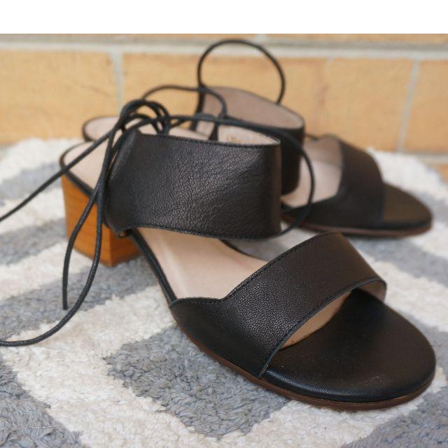 black lace up summer sandal
