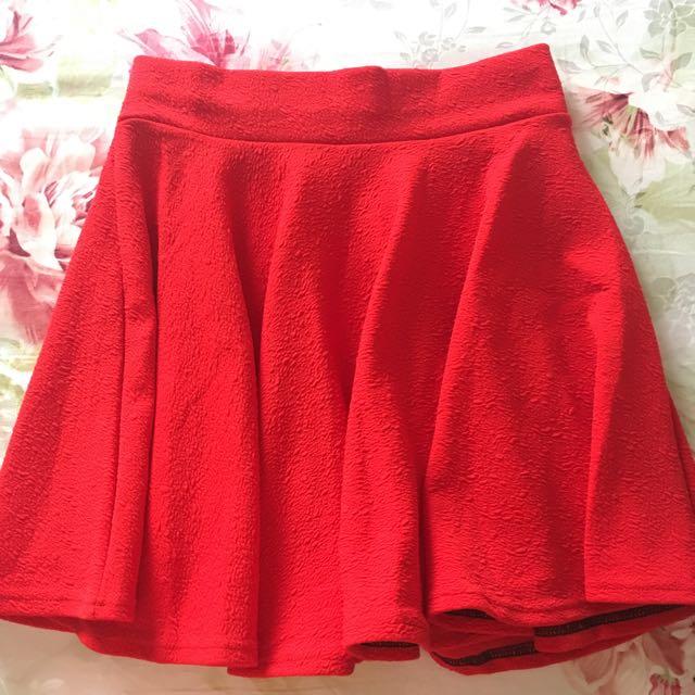 Bright Red Flowy Skirt