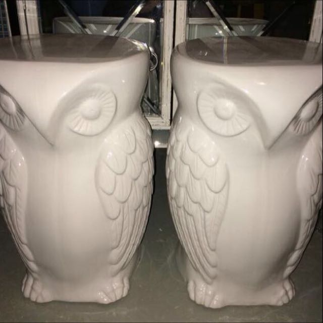 Urban Barn Ceramic Owl Side Tables
