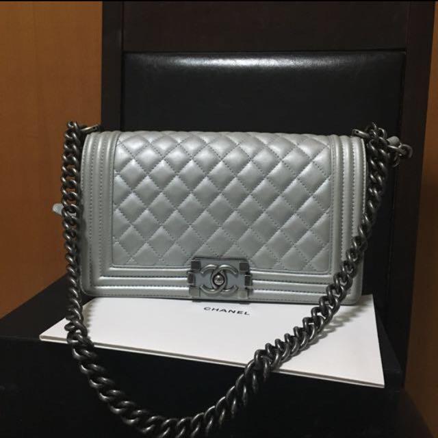 9afa43b37ce1b0 Chanel Boy In Metallic Silver In Old Medium, Luxury, Bags & Wallets on  Carousell