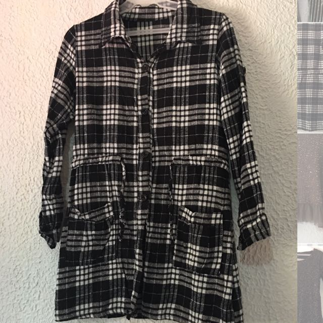 Checked Black And White Dress