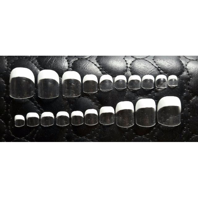 Classic French Toe Nails - Kuku Palsu, Handmade Fake Nails Art (te0001a)