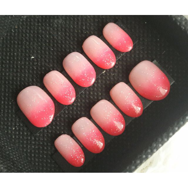 Classic Ombre Nails - Kuku Palsu, Handmade Fake Nail Art (br0001a)