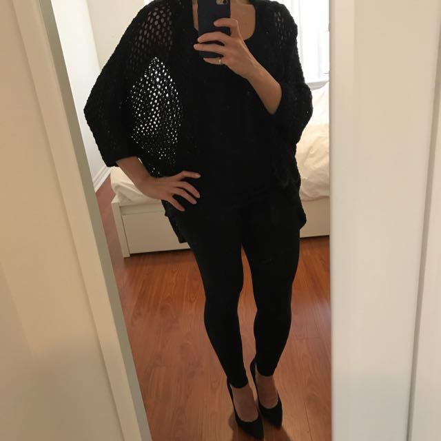 Crochet Black Cardigan