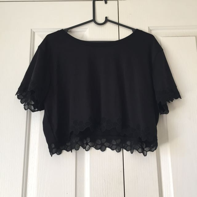 Crop Black T Shirt #under20