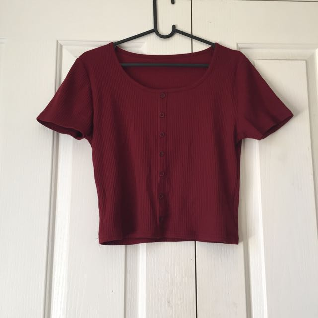 Crop Maroon T Shirt #under20