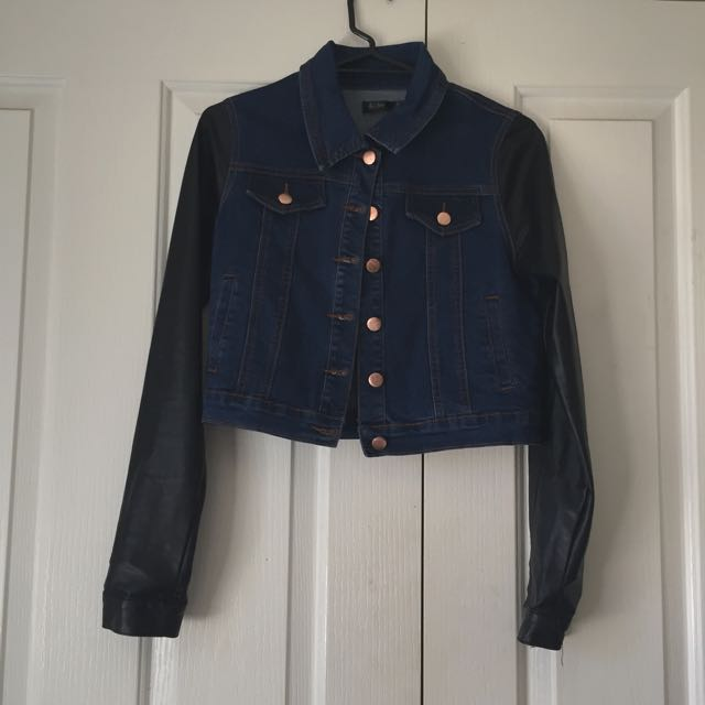 Denim Crop Jacket Leather Sleeves