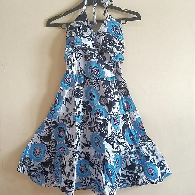 Flower Print Halter Dress