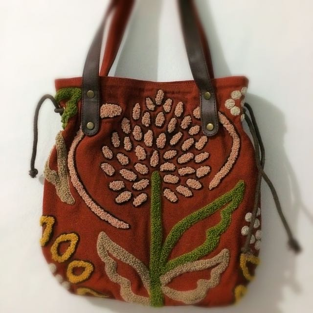 Emboss Brown HandBag