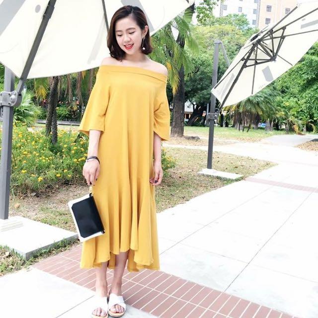 Gazza 芥黃一字領洋裝