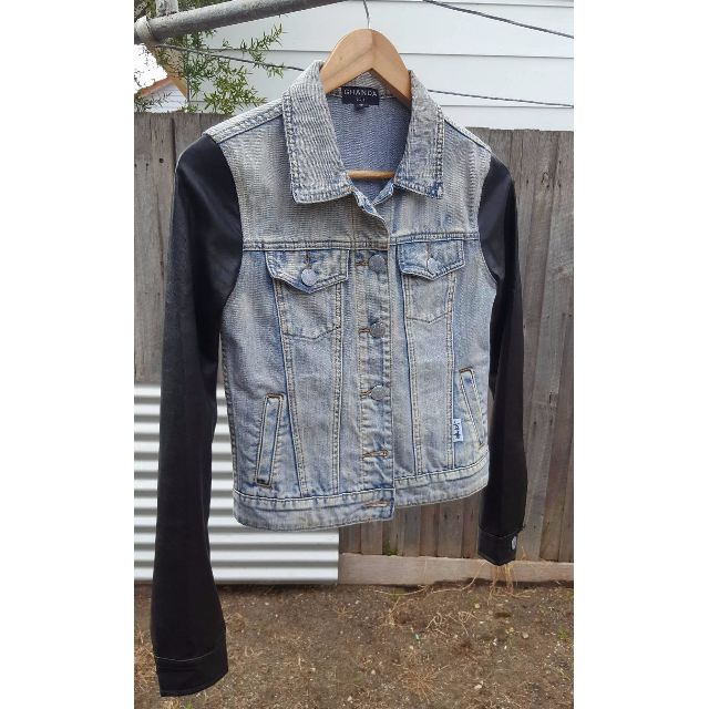 Ghanda denim/faux leather jacket size 8