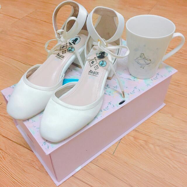 gracegift公主系列-小方頭繫踝鞋帶跟鞋
