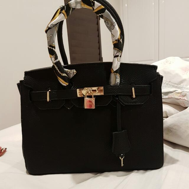 Hermes Black Leather Bag