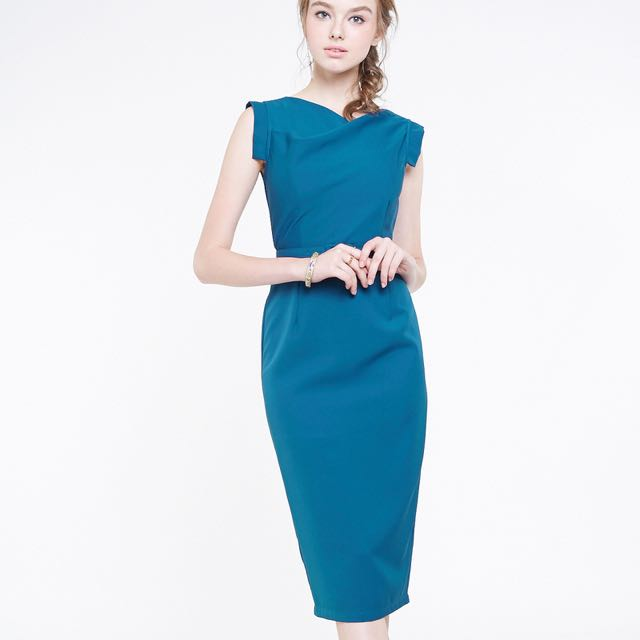 INTQ Intoxiquette BNIB Irdine Cowl Neck Real Dress Work Teal