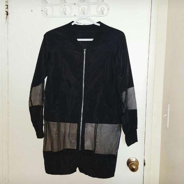 Korean Style: Tulle-hem Mesh Jacket