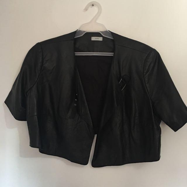 Leather Short Sleeve Black Jacket
