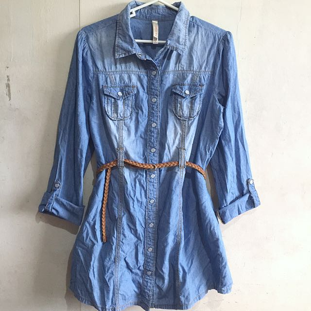 LS Button Down Denim Dress