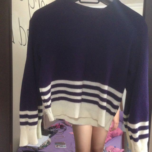 Navy Crop Knit Sweater