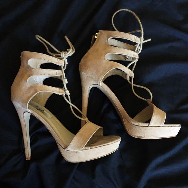 Nude/Beige Strappy Platform Heels
