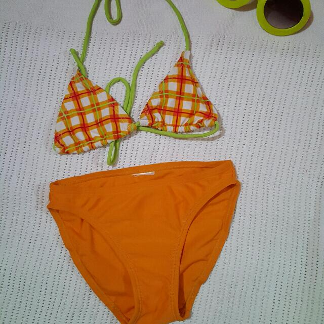 Orange Stripe Swimsuit