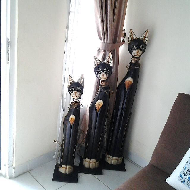 Pajangan Patung Triple Kucing Antik