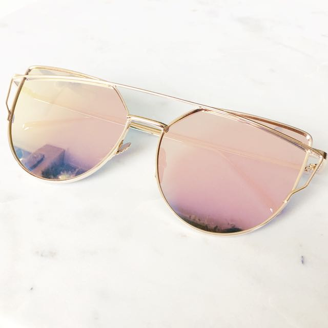 Rose Gold Pink Mirror Care Eye Aviator Sunnies Sunglasses