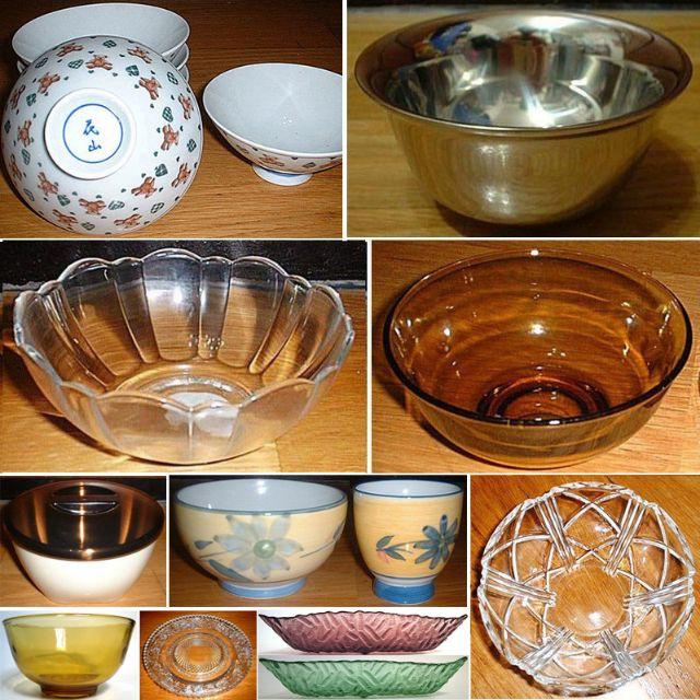 瓷碗、不銹鋼碗、冰淇淋碗、沙拉碗、飯碗、雙層隔熱碗、日式茶碗蒸杯碗、Royalex 玻璃碗、玻璃水果盤、Romance ROSE 水晶玻璃碗盤