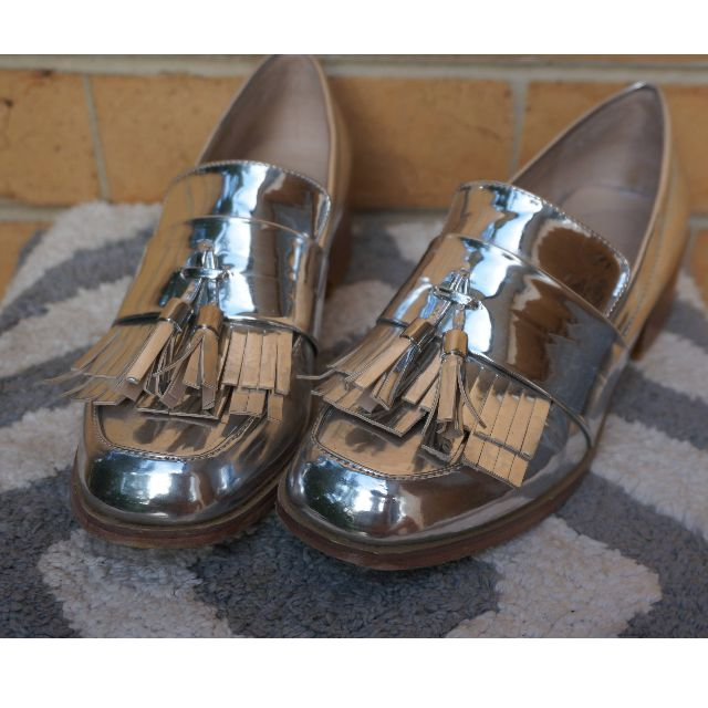 silver oxford heel loafer