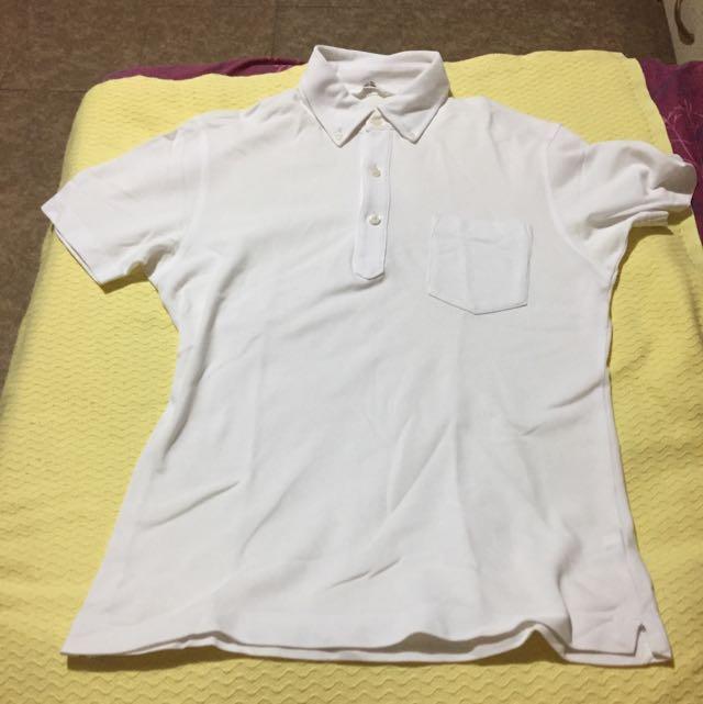 Uniqlo Plain White Polo Shirt