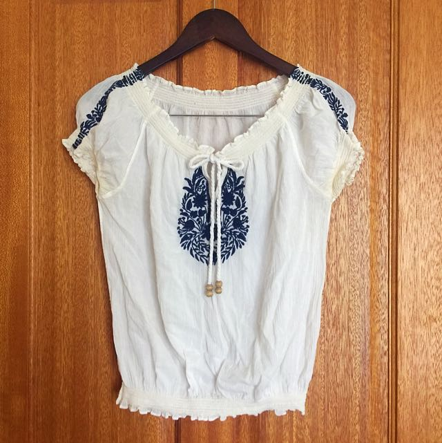 Vintage Boho Mexican Top With Embroidery