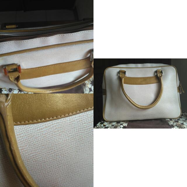 White Cream And Semi Gold Handbag