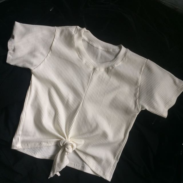 White Tie Knot Ribbed Top