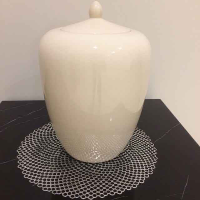 White Vase With Lid
