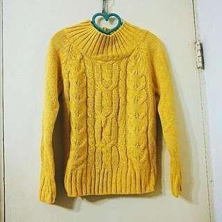 二手近全新✨芥黃色高領針織衣