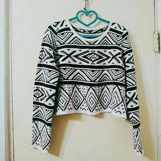 二手👼黑白短版寬鬆毛衣