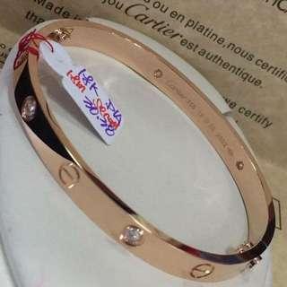 18K|750 Cartier 4 Diamonds Love Bangle Bracelet Genuine Rose Gold