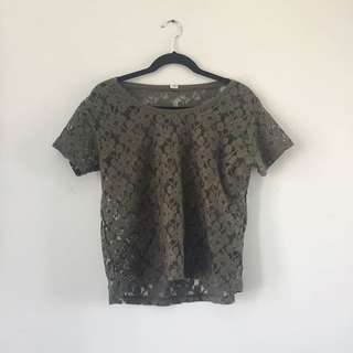 Green Lace Shirt Garage Medium