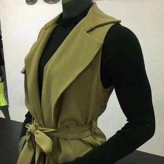 韓製  長版風衣外套背心